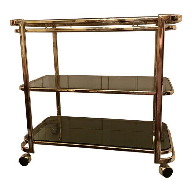 Mid-Century Brass & Smoke Glass Bar Cart - Image 1 of 10