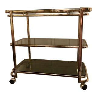 Mid-Century Brass & Smoke Glass Bar Cart