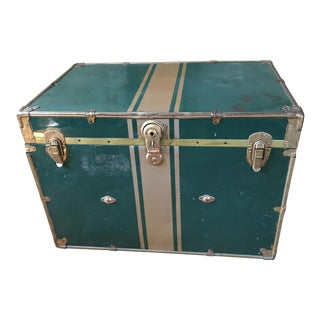 Vintage Green & Brass Steamer Trunk