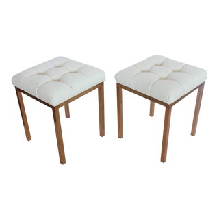 Stylish Mid-Century Brass and Tufted Leather Benches