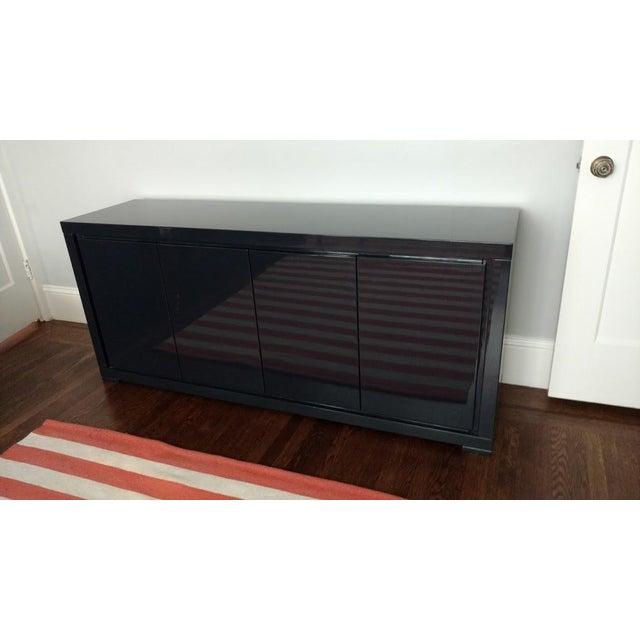 Large Indigo Lacquered Cabinet Credenza - Image 2 of 10