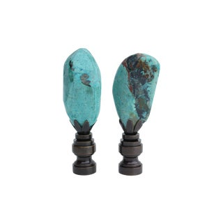 Blue Chrysocolla Lamp Finials - A Pair