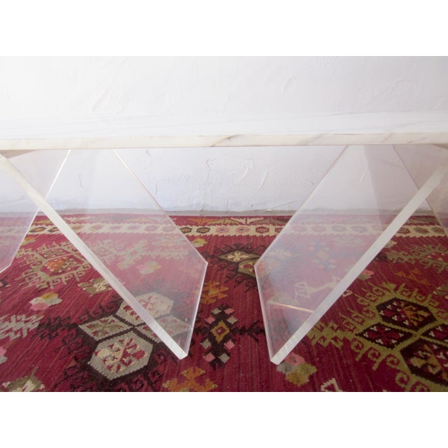 Italian Lucite & Marble Coffee Table - Image 3 of 11