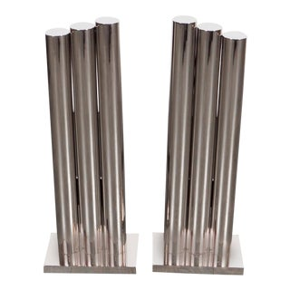 Custom Art Deco Style Triple Column Andirons in Polished Nickel