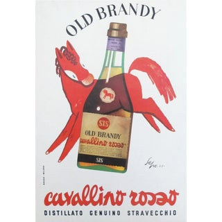 1953 Italian Old Brandy Poster, Cavallino Rosso by Sepo