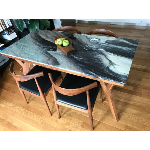Mid-Century American Marble Top Walnut Table - Image 3 of 7