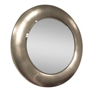 Ethan Allen Round Brushed Metal Mirror