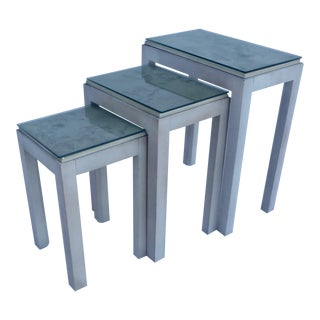 Floral Tile Topped Nesting Tables - Set of 3
