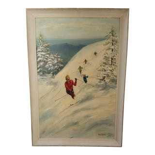 Signed 1970 Ski Slope Oil on Canvas Board Painting