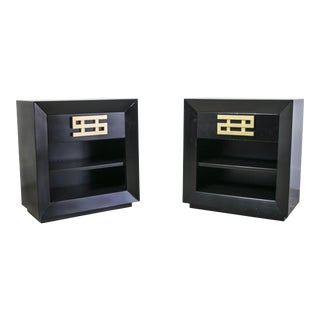 Black and Brass Nightstands by Maximilian Karp