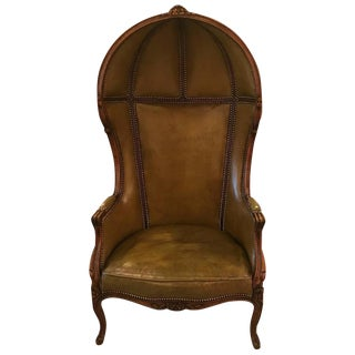 Louis XV Style Carved Beechwood & Leather Porter Chair