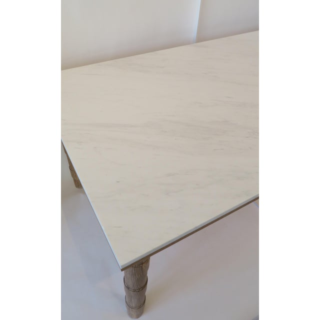 Custom Cersued Oak & Marble Dining Table - Image 4 of 6