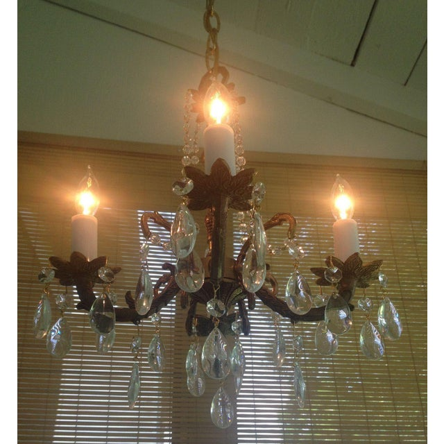 Petite Brass and Crystal 4 Light Chandelier - Image 3 of 7