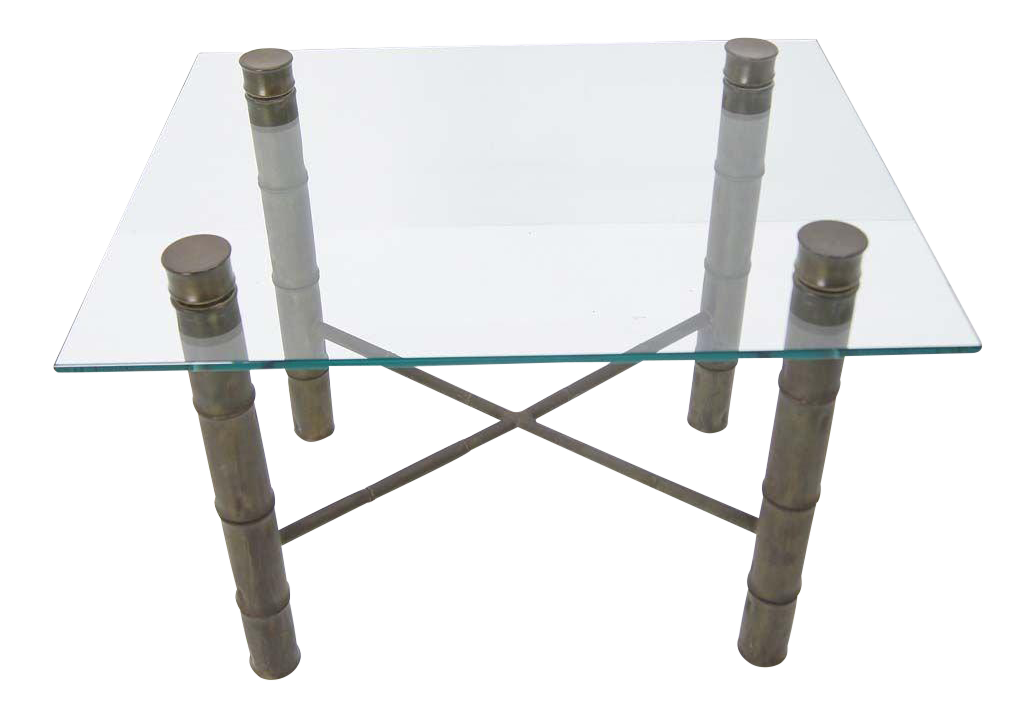 Faux Bamboo Brass X Base Square Glass Top Coffee Table Mid Century Modern