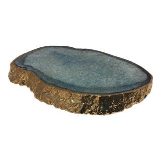 Azure Agate Platter with 24K Gold Rim