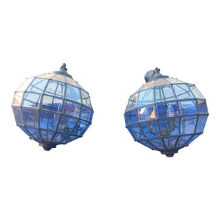 Industrial Faceted Glass Pendants - A Pair