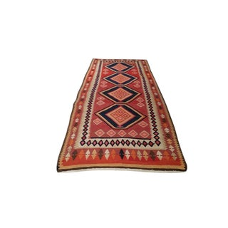 4′5″ × 10′7″ Vintage Turkish Kilim Hand Made Rug - Size Cat. 10 Ft 11 Ft Wide Runner