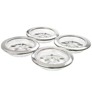 Vintage Sterling Silver And Glass Coasters- Set of 4
