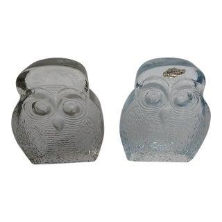 Blenko Mid-Century Modern Owl Glass Bookends - A Pair