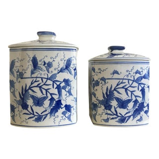 Vintage Chinoiserie Blue & White Canisters - Pair
