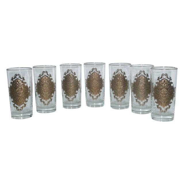 Hollywood Regency Gold Gilt Hi Ball Glasses - S/7 - Image 1 of 6