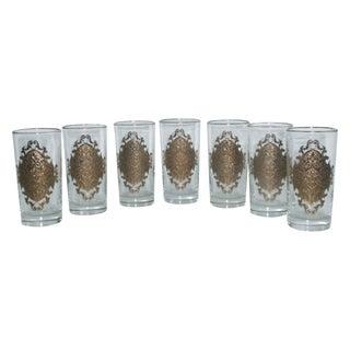Hollywood Regency Gold Gilt Hi Ball Glasses - S/7