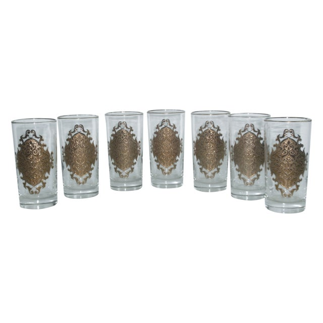 Image of Hollywood Regency Gold Gilt Hi Ball Glasses - S/7