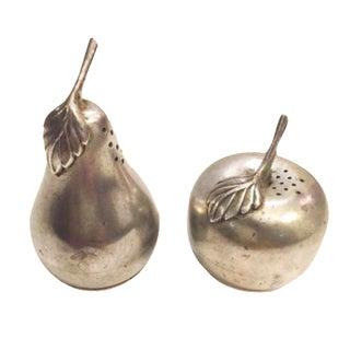 Vintage WEB Pewter Pear & Apple Salt & Pepper Shakers