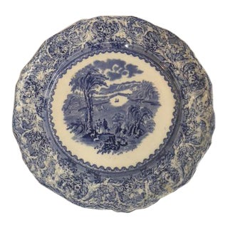 Antique English Blue Scalloped Plate