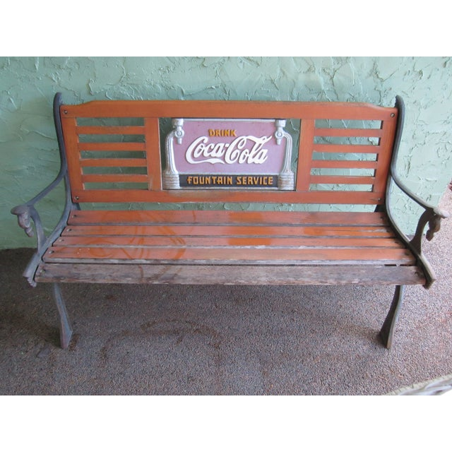 Vintage Wrought Iron Amp Wood Coca Cola Bench Chairish