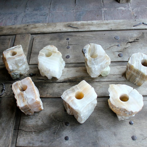 Natural Solid Marble Candle Holders - Set of 4 - Image 3 of 3