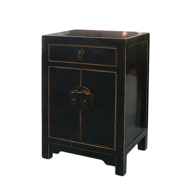 Black Lacquer Round Moon Face End Table Nightstand - Image 3 of 4