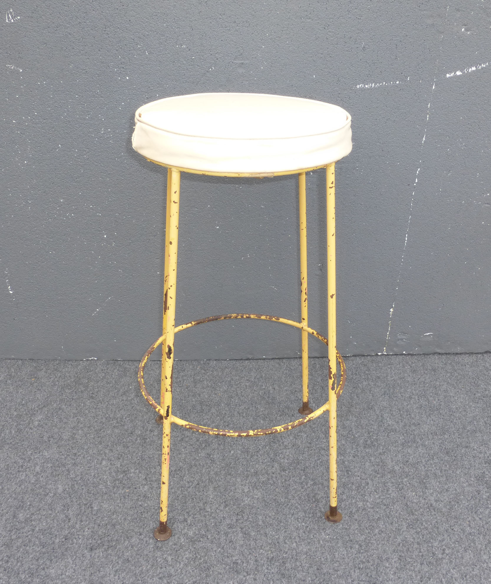 Vintage Yellow Metal Amp White Vinyl Bar Stool Chairish