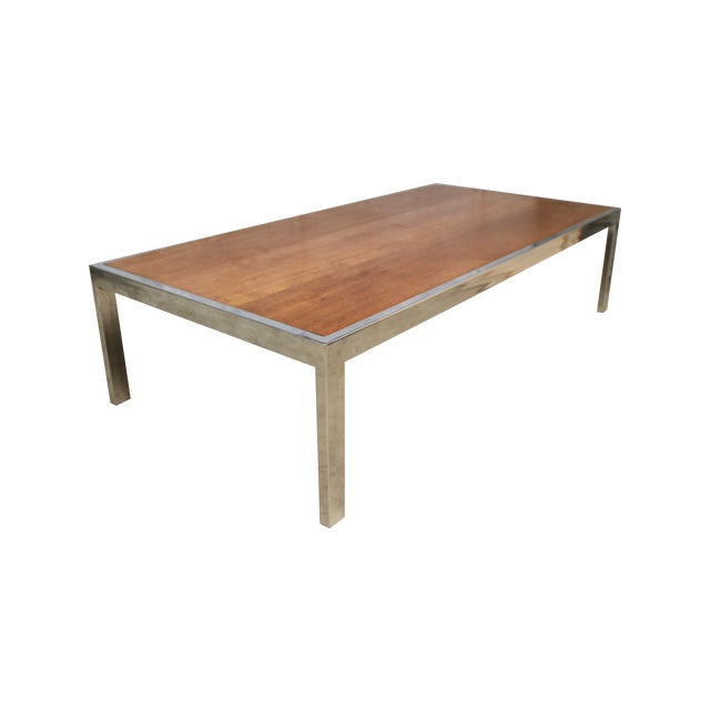 Image of Gorgeous Chrome and Wood Cocktail Table