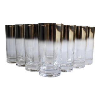 Mid-Century Silver Fade Glasses - Set of 8