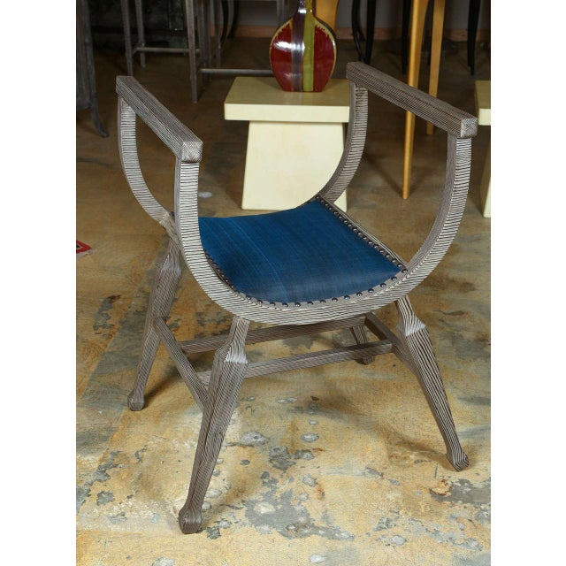 Paul Marra Distressed Fir Bench in Blue Horsehair - Image 2 of 8