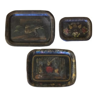 Small Antique Tole Trays - Set of 3