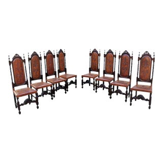 19th Century French Louis Xlll Style Leather Dining Chairs - Set of 8