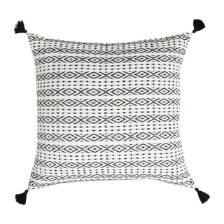 Mexican Black & Ivory Handwoven Pillow