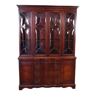 Nice Traditional 1950s Mahogany Bubble Glass Dining Room China Cabinet