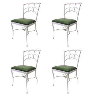 Green & White Cast Iron Outdoor Chairs - Set of 4