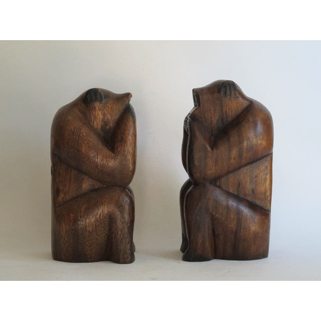 Wooden Monkeys - Pair - Image 4 of 8