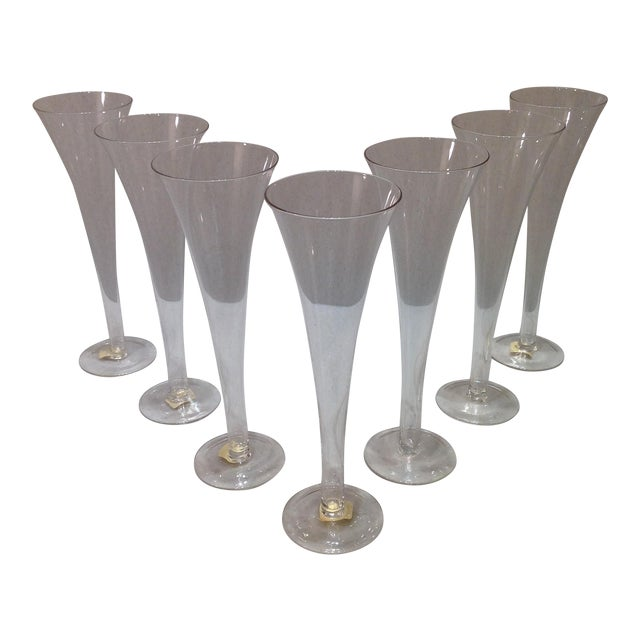 Hollow stem trumpet champagne flutes set of 7 chairish - Hollow stem champagne glasses ...