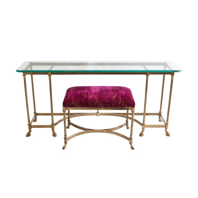 Vintage Baker Glass Topped Library Table and Bench - Image 1 of 4