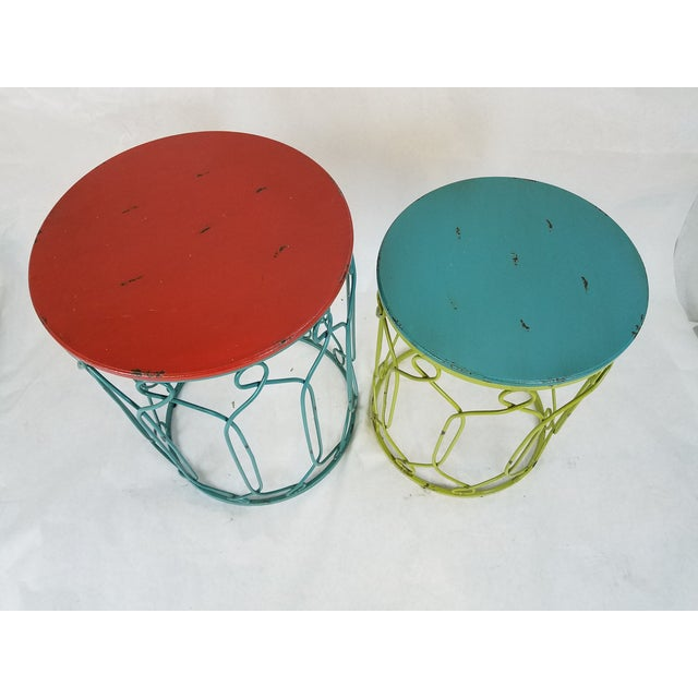 Distressed Metal Scroll Tables - Set of 2 - Image 4 of 4