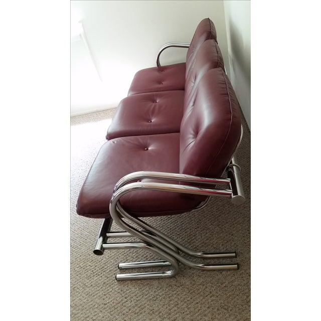 Vintage Chrome 3-Seat Sofa With Foot Stool - Image 4 of 9