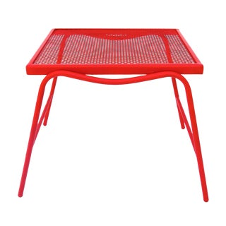 Mid-Century Modern Red Metal Mesh Side Table