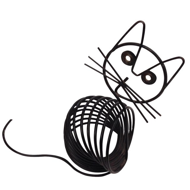 Image of Vintage Mid-Century Black Wire Cat