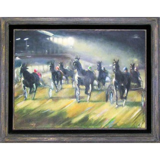 Large Original Oil Painting of Harness Horse Race