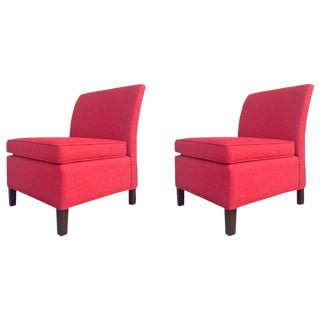 Mid-Century Red Slipper Chairs, Pair